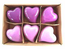 6 Dekorations - Herzen mit Karton, Lila/Flieder, Keramik, auch zum aufhängen