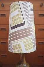 Original 60s/70s Paper Lampshade, Extra Tall Conical, White, Brown, Geometric