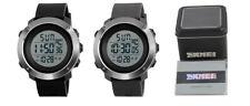 SKMEI para Hombres Digital LED Chrono Reloj Alarma 5Bar el grande con tarjeta de garantía y caja