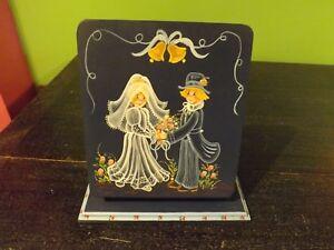 Handpainted Wood  Wedding Photo Album Holder Standing Country Couple Tulips Blue