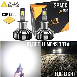 Alla Super Bright LED Pure White H3 Fog Light Bulb Replacement, Light on Road