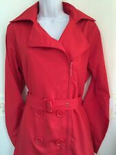 B934 Trench Coat Size 10/12 Ladies Lightweight Jacket Smart Red Rain Mac