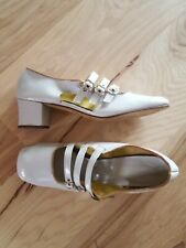 Vtg Womens Mont Ward Granny Shoes Taupe Patent Leather Heels Buckle 1950s Sz 8.5