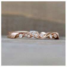 Band For Engagement in 14k Rose Gold 3mm Wide Round Cut White Moissanite Wedding