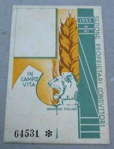 Tessera fascista PNF Confederazione agricolturi Reggio Emilia duce Mussolini war