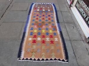Vintage Kilim Traditional Hand Made Oriental Cotton Wool Brown Kilim 220x95cm