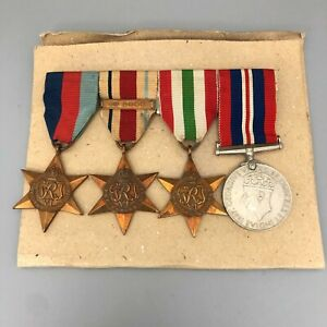 Bundle of WWII War Medals With Ribbons & Bar Africa Star Italy Star 30061 CP