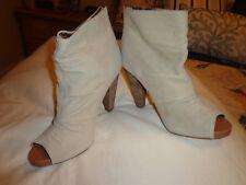Seychelles Womens/Ladies Open Toe Faux Suede Boots w/wood heel/zipper back.size7