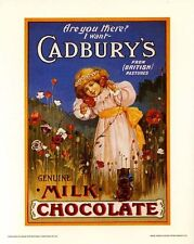Cadbury's Chocolate: Vintage Adv. Poster Repro - Little Girl in a Garden - 8x10