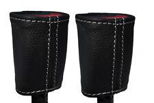 PUNTO bianco 2x Sedile Anteriore Cintura in pelle copre si adatta BMW SERIE 7 e65 e66 01-08