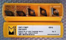 5x KENNAMETAL CARBIDE INSERTS DCMT 11T308 FP, KCM15, DCMT 3252 FP