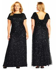 ADRIANNA PAPELL Sequin Cowl Back Dress Gown in Black, Sz:14W Ret:$339 NWT