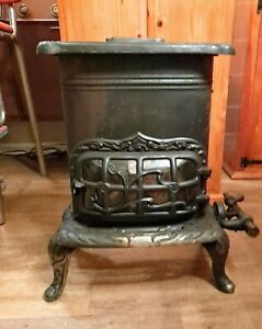 Vtg Antique Victorian Cast Iron Gas Furnace Heater Fireplace