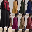 ZANZEA Women Long Sleeve Vintage Kaftan Buttons Down Hoodies Long Maxi Dress