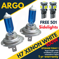 H7 100w Super White Xenon (499) 12v Dipped Headlight Bulbs + Led 501 Sidelights