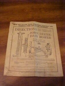 Antique Rare paperwork for a John Deere Dain Mower OWNERS MANUAL