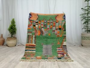 "Vintage Moroccan Tribal Handmade Rug 3'4""x4'6"" Berber Abstract Green Wool Rug"