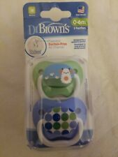 2PK Dr Brown's Stage 1 0m+ Newborn  Baby Pacifier/Dummy BPA Free Orthodontic PK