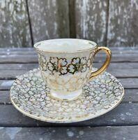 Vintage Homer Laughlin Eggshell Georgian Demitasse Cup & Saucer Iridescent Gold