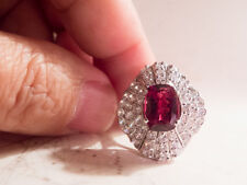 Solid SS 925 Exquisite Rhodolite Garnet and (Diamond Cut) White Sapphire Ring -