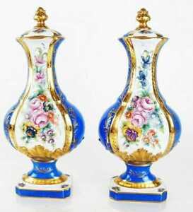 Pair Old Paris Sevres Style French Blue Ground Lidded, Footed Urns