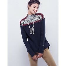 Free People Black Mock Neck Knitted Sweater Boho Pullover