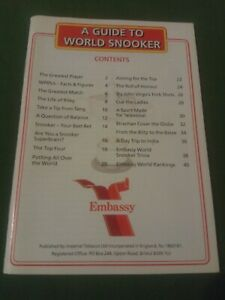 1998 GUIDE TO WORLD SNOOKER - EMBASSY POCKET SIZE BOOKLET