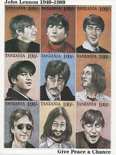 "The Beatles John Lennon ""Give peace a chance"" Tanzanie STAMP SHEET Comme neuf"