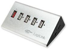 Logilink Hub USB 5 Porte in Alluminio con Ricarica Veloce