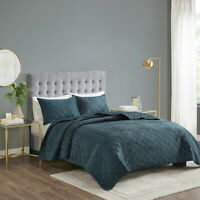 ~ BEAUTIFUL ULTRA SOFT MODERN CHIC TEAL BLUE PLUSH VELVET MINK LUXURY QUILT SET