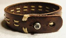 RARE Vintage Abercrombie & Fitch A&F Leather/Metal Cuff Bracelet Contrast Lace!!