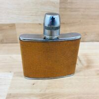 Vintage Leather Bound Stainless Steel Hip Flask  Made in England 1960/70s