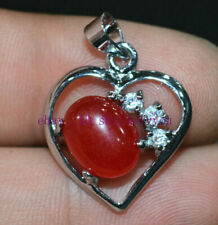 Exquisite 8x10mm red ruby Gemstone Heart Pendant Zinc Alloy + Crystal 17 ""