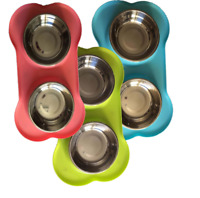 Pet Food Bowls Bone Shape Non-Slip Tray with Stainless Steel bowls Food Water
