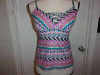 Coastal Blue Aztec Women's Swimwear Lace Up Front Tankini Top size L (B146)