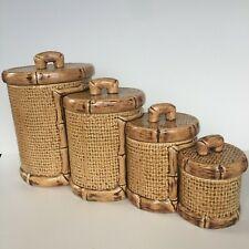 Vintage Ceramic Canister Set Tiki Boho Retro Bamboo Tiki Bar Nesting 8 Pieces
