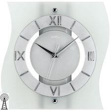 AMS 5909 Funk Wanduhr Funkuhr Silber Uhren-neu