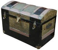 Antique Victorian Dome Top Embossed Childrens Petite Steamer Trunk Carpet Lined