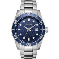 Bulova Men's Quartz Blue Dial Rotating Bezel Calendar 44mm Watch 98A194