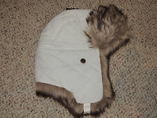 Womens Eddie Bauer White Fur Trim L/XL Quilted Lined Winter Hat Ear Flaps