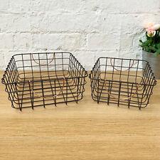S/2 Black Metal Rectangle Magazine Pantry Basket Shelving Storage Copper Handles