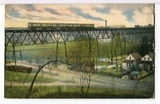 Waukesha Interurban Line Train on Street Car Bridge Milwaukee Wi 1907-15Postcard