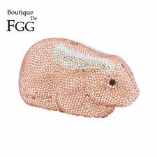 Champagne Rabbit Crystal Evening Bag Minaudiere Purse Wedding Clutches Handbag