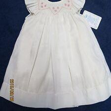 Will'beth size 12 mo cream silk dress, smocking w/rosebuds new w/tags