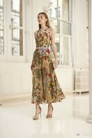 UK 2019 Damen Runway Designer Inspiriert Luxus Stickerei Maxi Kleid