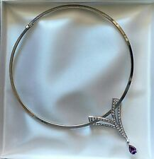 STERLING SILVER COLLAR OR CHOKER NECKLACE W/GENUINE CRYSTAL PENDANT #14