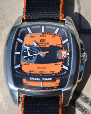 Casio Edifice World Time watch EF-321 orange - only slightly used! 2 straps, box