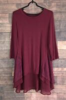 LOGO by Lori Goldstein Knit Tunic Embroidered Mesh Detail Women's Size Small