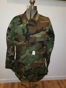 Woodland camo long sleeve BDU shirt, pre-issued, Mens and Womens