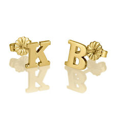 Gold Initial Stud Earrings - Gold Plated Personalized Earrings - oNecklace ®